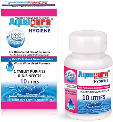 Aquapura Water Purification Tablets (Each Tablet for 10 L) - 100 Pieces Pack