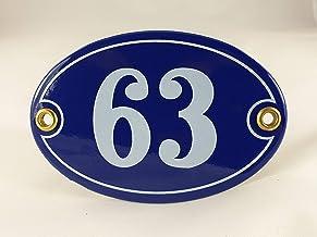Emaille huisnummer bord nr. 63, ovaal, blauw-wit Nr. 63 Blau-Weiß + Schrauben und Dübel
