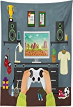 Lunarable Gamer Tapestry, Gaming Guy in His Flat with Diplomas Loud Speakers Boxing Gloves Jump Rope and Trophy, Fabric Wall Hanging Decor for Bedroom Living Room Dorm, 30