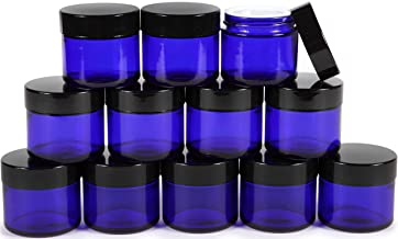 Vivaplex, 12, Cobalt Blue, 2 oz, Round Glass Jars, with Inner Liners and black Lids