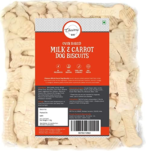 Chewers Oven Baked Real Carrot & Milk Dog Biscuits, Dog Treat 1 Kg