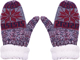 PZLE Kids Winter Gloves Warm Lining Knit Wool Mittens