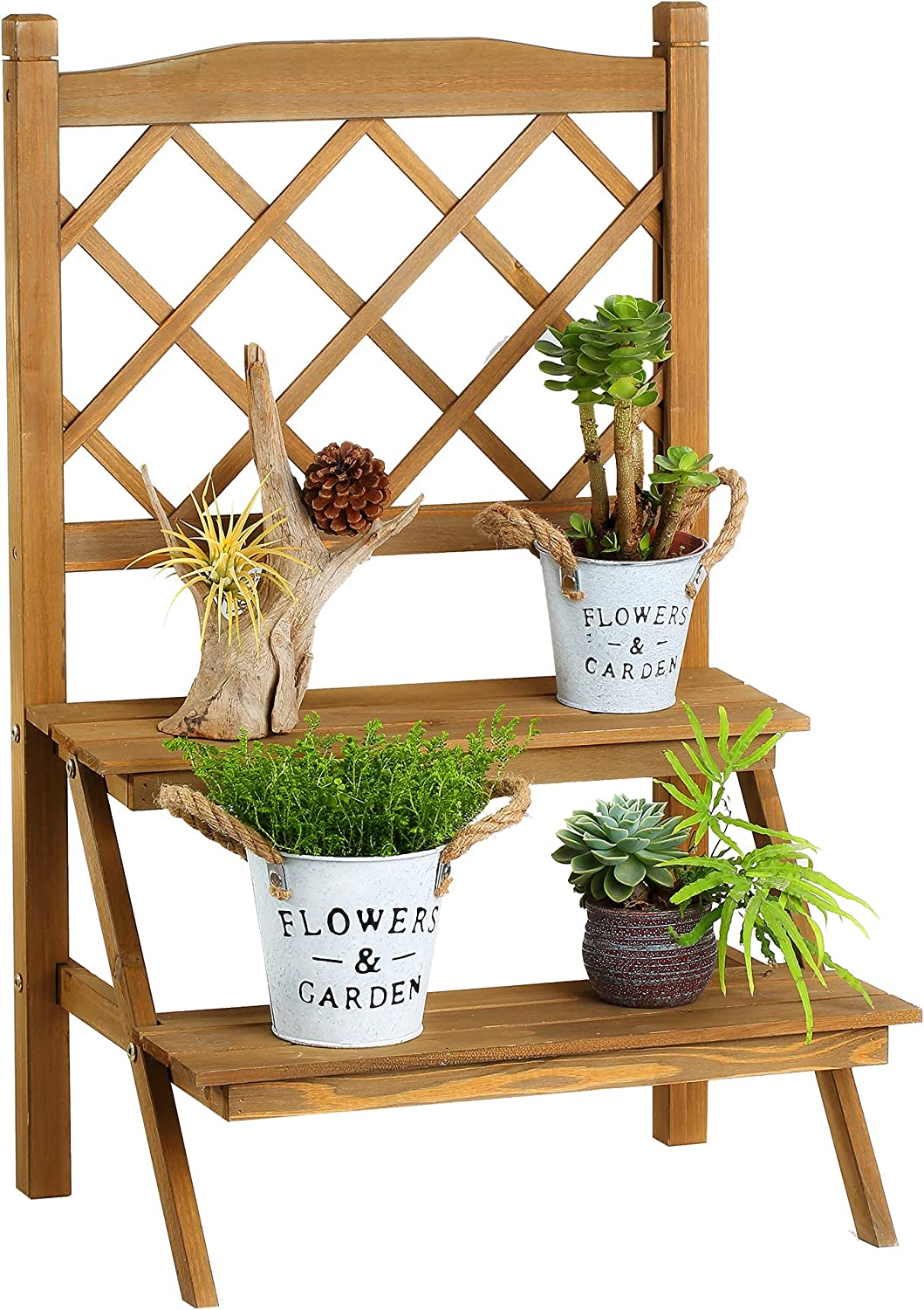 Ladder Plant Stand low-pricing with Lattice Wooden Coffee 5% OFF 2-Tier Holde