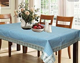 Kuber Industries™ Blue Checkered Design Waterproof Dining Table Cover 6 Seater (60 * 90 inches)