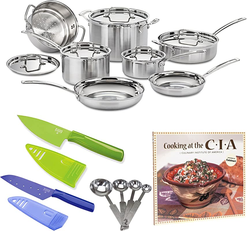 Cuisinart MCP 12N Multiclad Pro Stainless Steel 12 Piece Cookware Set PLUS Stainless Steel Measuring Spoon Set Two Small Knives And Cookbook