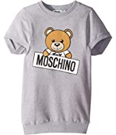 Moschino Kids - Short Sleeve Teddy Bear Logo Graphic Dress (Little Kids/Big Kids)