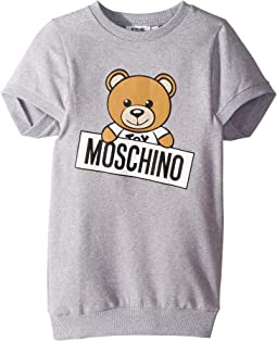 Short Sleeve Teddy Bear Logo Graphic Dress (Little Kids/Big Kids)