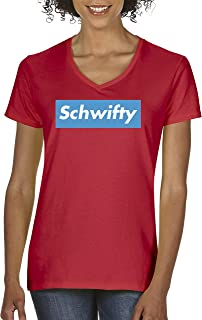 858 - Women's V-Neck T-Shirt Schwifty Supreme Rick Morty Parody Logo