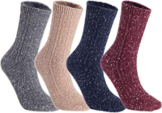 Lian LifeStyle Women's 4 Pairs Pack Fashion Soft Cotton Crew Socks One Size HR1614(Random)