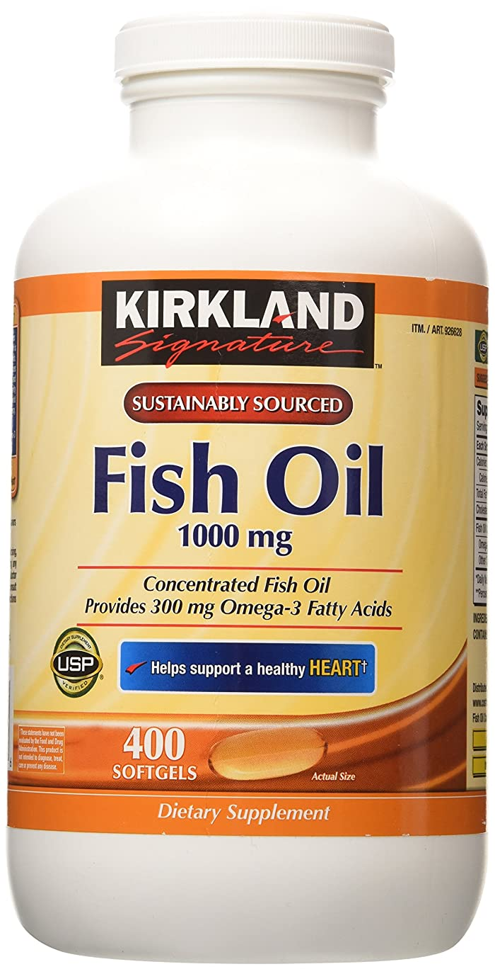 完璧なレザー休日Kirkland Signature Natural Fish Oil Concentrate with Omega-3 Fatty Acids, 400 Softgels, 1000mg