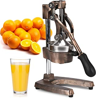 Zulay Professional Citrus Juicer - Manual Citrus Press and Orange Squeezer - Metal Lemon Squeezer - Premium Quality Heavy Duty Manual Orange Juicer and Lime Squeezer Press Stand, Copper Finish