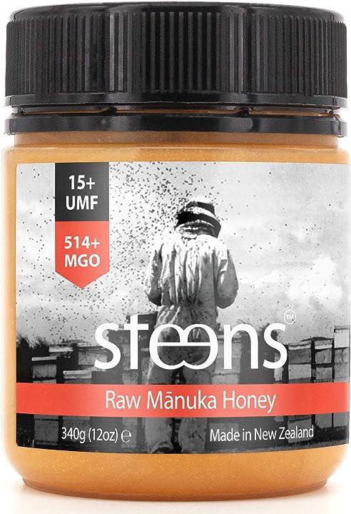 Miele di manuka monoflorale  steens mgo 514 (umf 15) 340g crudo e non pastorizzato B088BXWT2J
