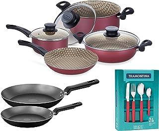 Tramontina Kitchen Set 7 Pcs NonStick Cookware Set Starflon MAX resistant with glass lids 2 NonStick Frying Pan 24 Pcs Tab...