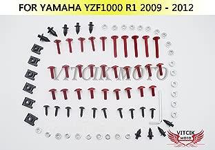 VITCIK Full Fairings Bolt Screw Kits for Yamaha YZF1000 R1 2009 2010 2011 2012 YZF 1000 R1 09 10 11 12 Motorcycle Fastener CNC Aluminium Clips (Red & Silver)