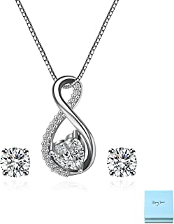 Cubic Zirconia Bridal Jewelry Set - Women's Sterling Silver CZ Crystal Infinity Pendant Necklace Stud Earring Set for Wedding Bride Bridesmaids Platinum Plated Infinity Jewelry