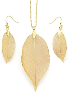 Cloris Tautou Long Necklaces for Women, Real Filigree Leaf Pendant Jewelry Gifts for Women Girls A Golden Leaf Set
