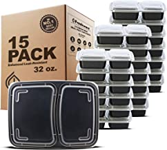 Freshware Meal Prep Containers [15 Pack] 2 Compartment with Lids, Food Containers, Lunch Box | BPA Free | Stackable | Bent...