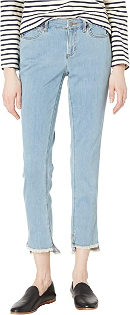 Slim Ankle Jeans w/ Raw Edge Slit Detail in Frost