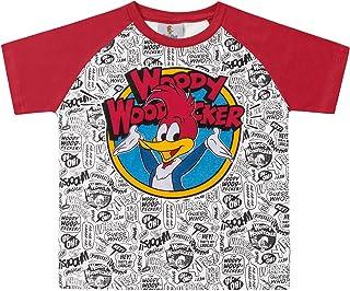 Camiseta Manga Raglan em Meia Malha Pica-Pau,  Fakini,  Meninos