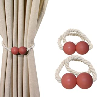 Curtain Tiebacks Magnetic - Set of 2 Nautical Coastal Theme Magnetic Tiebacks for Curtains | Home Décor for Beach Homes, Indoor Room, Outdoor Patio, Pool Deck | Drapery Holdbacks 2 Pack (Coral Reef)
