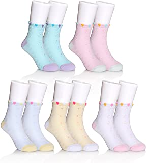 FNOVCO Kids Girls Boys Socks Fashion Cute Animal Patterns Cotton Crew Socks 5 Pairs (6-8 years Old, Butterfly)