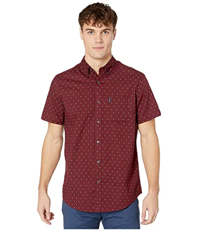 Ben Sherman Short Sleeve Multi Spot Stripe Print Shirt (Tawny Port) Men