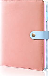 $24 » Refillable Planner A5 Binder Womens 6 Rings Spiral Pink Leather Journal with Pen Holder for Work Girls Diary Efficient Not...