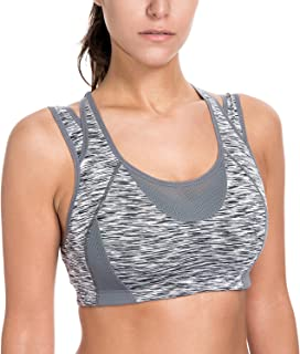 SYROKAN Women's Workout Sports Bra High Impact Support Wireless Mesh Racerback Top