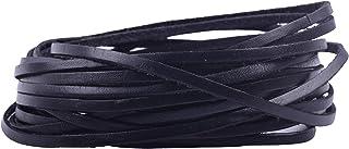 KONMAY Tiras de cordones de piel de vacuno de 10 m x 2,0 mm, color negro