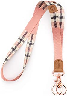 POCKT Neck Lanyard Keychain Holder for Men and Women - Cool Lanyards for Keys, Wallet and ID Badge with 2 Key Ring | Pink Plaid