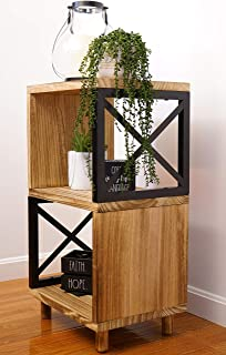 Premium Home Rustic Side Table: Farmhouse End Table, Bedside Table, Wood Nightstand, Tall End Table, High Side Tables for ...