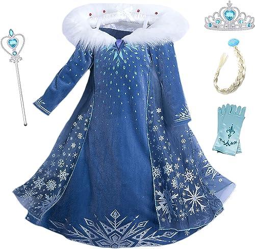 Eleasica Filles Cosplay Robe de Princesse Elsa Manches Longues Reine des Neiges Robe Longue Costume de Robe Bleu Chau...