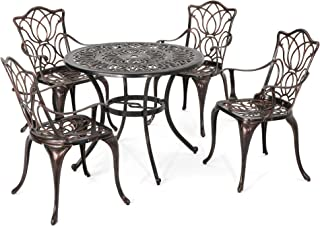 Christopher Knight Home Barbara Outdoor 4-Seater Cast Aluminum Round-Table Dining Set, Shiny Copper