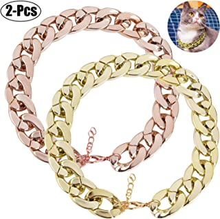 Legendog 2Pcs Dog Neck Chain Pet Chain Collar Fashion Cool Plastic Pet Chain Necklace for Cat Dog (2Pcs Gold + Rose Gold)