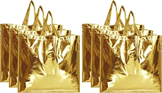 Kuber Industries Reusable Large Size Grocery Bag Shopping Bag with Handle, Non-Woven Gift Bag Goodies Bag Gold Tote Bag-Pa...