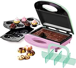 Nostalgia BBE4 4-in-1 Bakery Bites Express Makes Mini Brownies, Cupcakes, Cakes and Cookies, Green/Pink