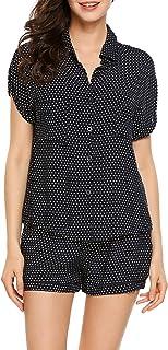ملابس نوم قصيرة الأكمام للنساء من Langle قميص وشورت منقوش 2 قطعة طقم بيجامة S-XL