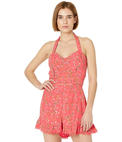 LOST + WANDER Everyday Adventures Romper (Red/Orange Coral Floral Multi) Women