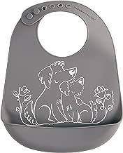 modern-twist BB013 Waterproof Silicone Adjustable Strap Bucket Baby Bib, Puppy Love