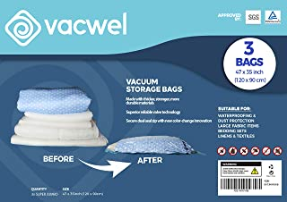 Jumbo XXL Vacuum Storage Bags, 47 x 35 Space Saver Bags for Clothes, King Comforters or a Small Mattress, Thick & Strong XXL Size (3 XXXL Bag Pack)