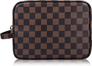 Cosmetic Bags, RBEIK Luxury PU Leather Waterproof Checkered Makeup Bags, Portable Simple Storage Bags Small Travel Organizer Zipper Pouch Toiletry Bags for Women Men Girls Medium A#1 Checkered Coffee