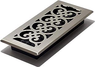 Decor Grates SPH410-NKL 4 10-Inch Scroll Floor Register, 4x10, Brushed Nickel Finish