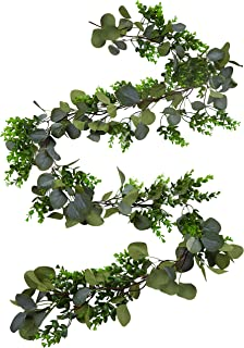 Oh My Decors Faux Eucalyptus Garland – 6.10 ft Fake Vines – Artificial Magnolia Christmas Garland Greenery for Wedding Arch, Fireplace, Mantel, Table Runner, Centerpiece – Olive Eucalyptus Garland