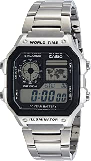 Casio Men's Digital Dial Stainless Steel Band Watch, AE1200WHD-1AVDF