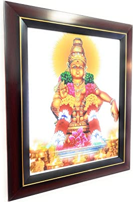 Ayyappa Swamy, PE4003 Deities Photos with Wooden Brown Frame. Lord Ayyappa