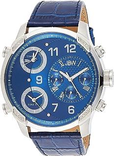 ساعة جي 4 الفخمة المرصعة بستة عشر ماسة ذات السوار الجلدي والنطاقات الزمنية المتعددة للرجال من جيه بي دبليو – موديل J6248LQ
