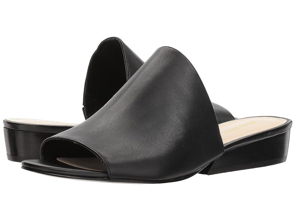 Nine West Lynneah Slide Sandal (Black Soft Calf) Women