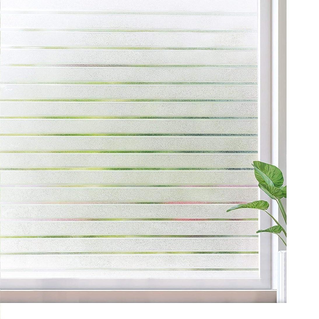 速報確率中性窓用フィルム ストライプ 窓 めかくしシート 水で貼れるガラスフィルム 跡なくはがせる オフィス事務室会議室の視線阻隔 遮光 目隠し UVカット 日よけ 断熱 飛散防止 スリガラス調 網入りガラス適用 (ホワイト 44.5X200cm)