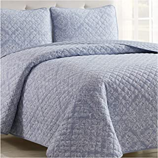 Mellanni Bedspread Coverlet Set Laced-Sky-Blue - Comforter Bedding Cover - Oversized 3-Piece Quilt Set (Full/Queen, Laced Sky Blue)