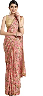 Womanista georgette with Blouse Piece Saree (TKIM760_ Pink_ Free Size)